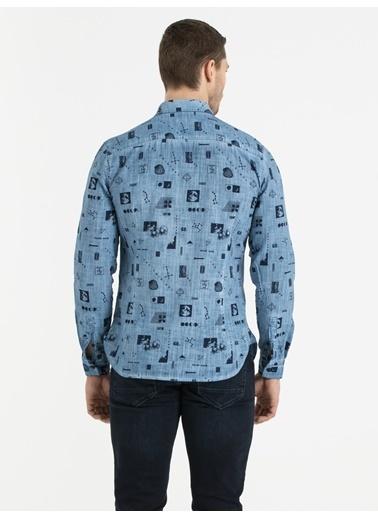 Loft Desenli Gömlek İndigo